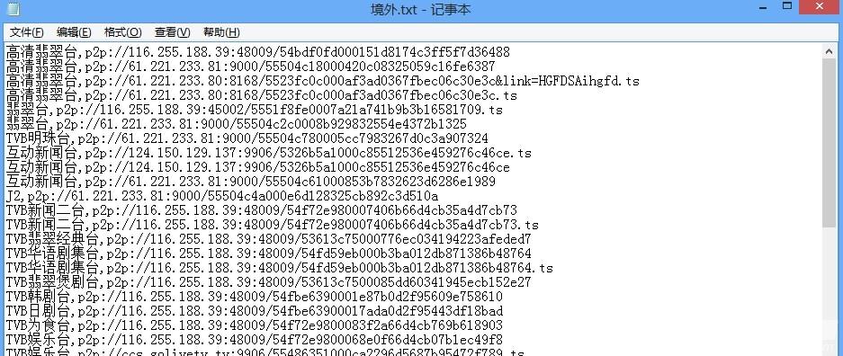 [其它源] 境外节目源分享含高清翡翠台直播源
