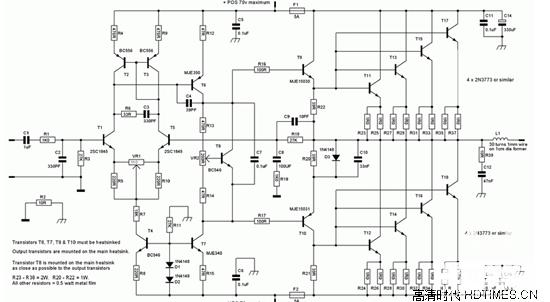 丁类功放(D类功放)原理:   D类功放是放大元件处于开关工作状态的一种放大模式。无信号输入时放大器处于截止状态,不耗电。工作时,靠输入信号让晶体管进入饱和状态,晶体管相当于一个接通的开关,把电源与负载直接接通。理想晶体管因为没有饱和压降而不耗电,实际上晶体管总会有很小的饱和压降而消耗部分电能。这种耗电只与管子的特性有关,而与信号输出的大小无关,所以特别有利于超大功率的场合。   丁类功放(D类功放)电路图: