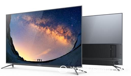 此款微鲸电视d系列在外观设计上采用深空灰全铝合金超窄边框,机身